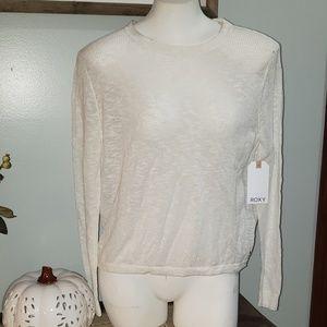 NWT L/S Open Back White ROXY Sweater Size Small